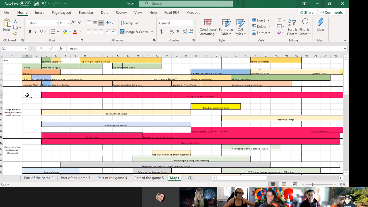 Screenshot of a digital production spreadsheet, all tasks have been humorously renamed.